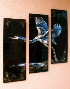 Hand Painted Heron Tile Art