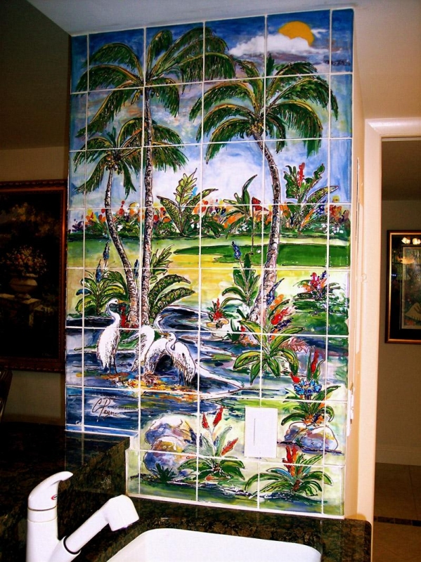 Custom kitchen backsplash murals hand painted tiles in for Custom mural tiles