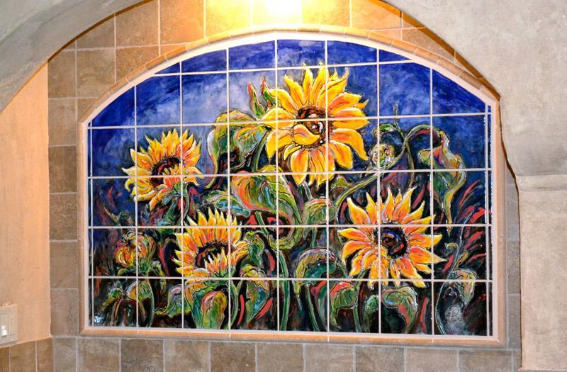 Custom kitchen backsplash murals hand painted tiles in for Custom tile mural
